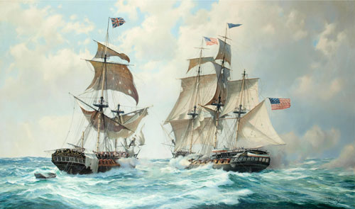 Artist: Derek Gardner; Painting  The Action between United States and Macedonian
